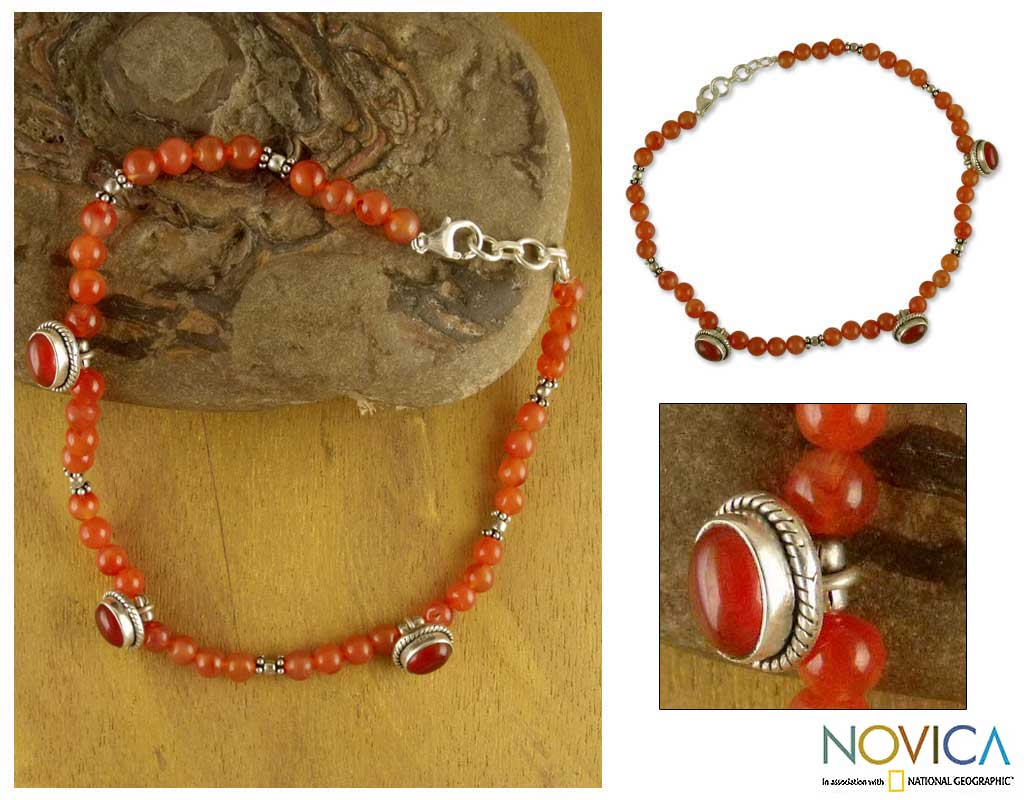 Sterling Silver Carnelian 'Love Song' Anklet (India)