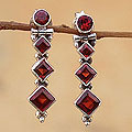 Sterling Silver 'Ravishing Red' Garnet Drop Earrings (India)