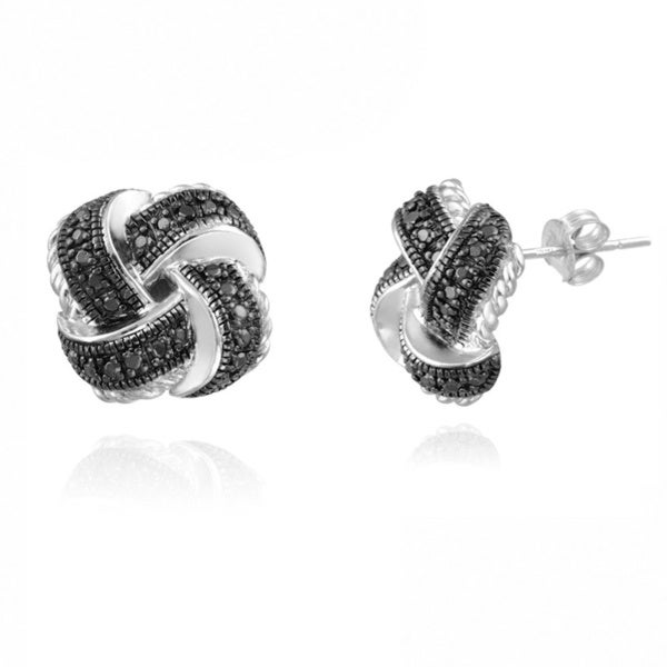 DB Designs Sterling Silver Black Diamond Accent Love Knot Earrings