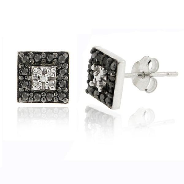 DB Designs Sterling Silver 1/8ct TDW Black Diamond Square Earrings