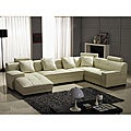 Houston Ivory Leather 3-piece Sectional Set