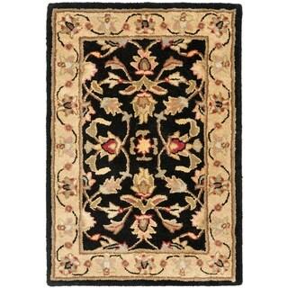 Handmade Heritage Kerman Black/ Gold Wool Rug (2' x 3')