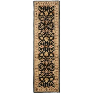 Handmade Heritage Kerman Black/ Gold Wool Runner (2'3 x 10')