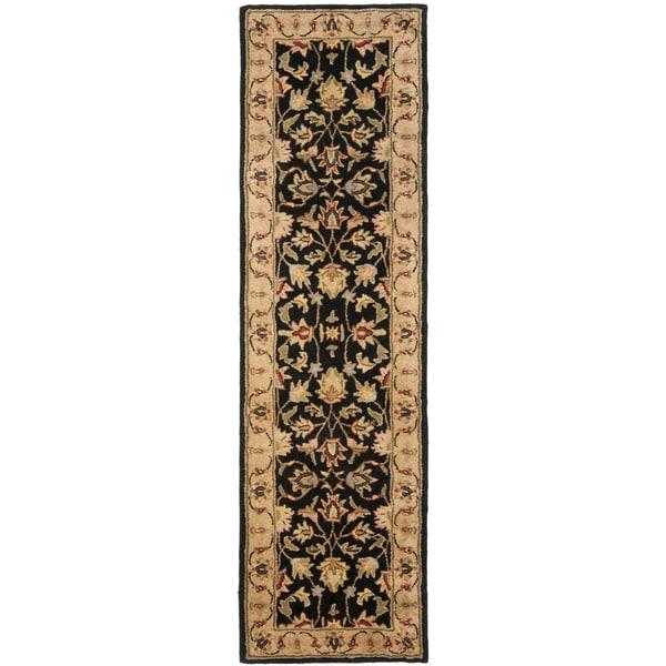 Safavieh Handmade Heritage Kerman Black/ Gold Wool Runner (2'3 x 10')