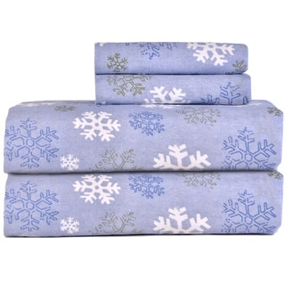 Pointehaven Snow Flake Flannel Bed Sheet Set