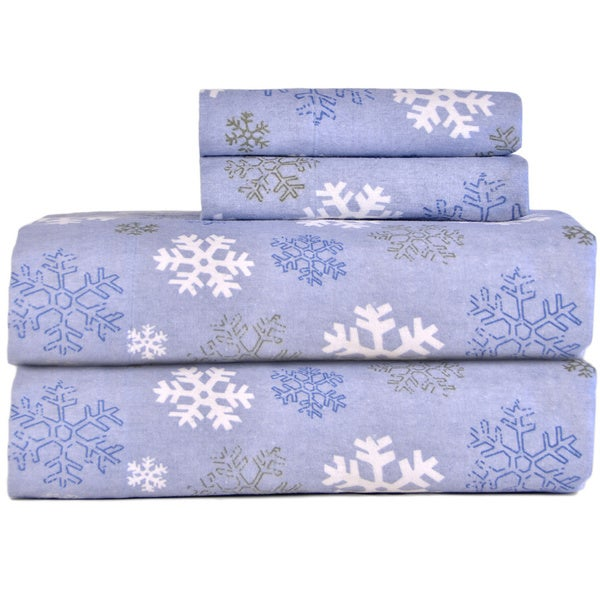 Shop Pointehaven Snow Flake Flannel Sheet Set - On Sale - Free ...