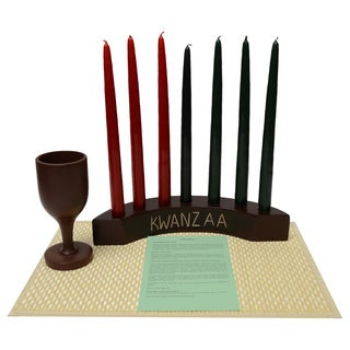 Handmade Arc Kinara Candle Holder Kwanzaa Set (Ghana)