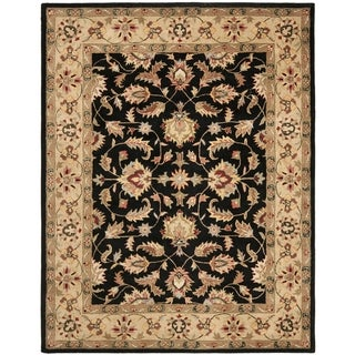 Handmade Heritage Kerman Black/ Gold Wool Rug (5' x 8')