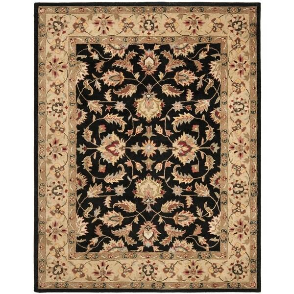 Safavieh Handmade Heritage Kerman Black/ Gold Wool Rug (6' x 9')