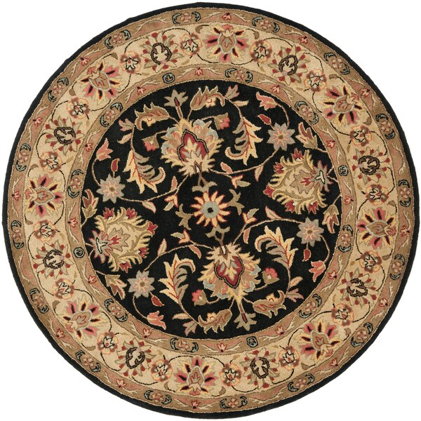 Safavieh Handmade Heritage Kerman Black/ Gold Wool Rug (6' Round)
