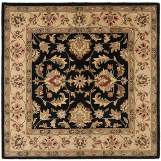 Handmade Heritage Kerman Black/ Gold Wool Rug (6' Square)