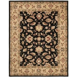 Safavieh Handmade Heritage Kerman Black/ Gold Wool Rug (7'6 x 9'6)