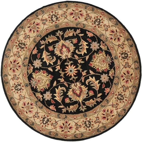 Safavieh Handmade Heritage Kerman Black/ Gold Wool Rug (8' Round)
