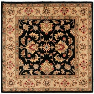 Safavieh Handmade Heritage Kerman Black/ Gold Wool Rug (8' Square)
