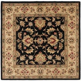 Safavieh Handmade Heritage Kerman Black/ Gold Wool Rug (8' Square)