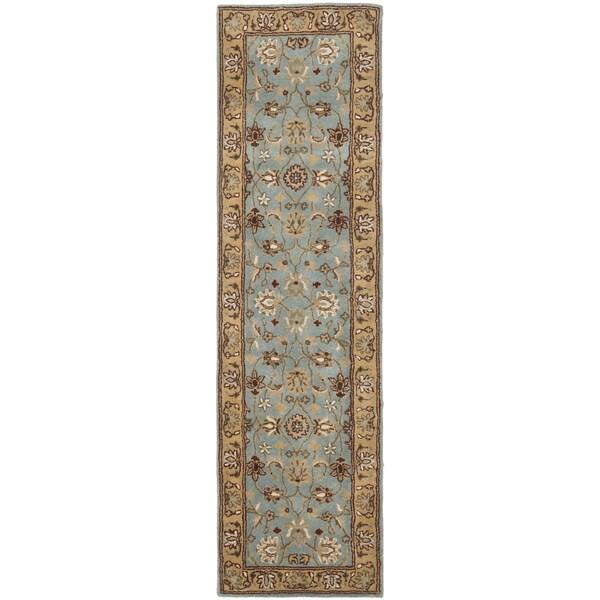 Safavieh Handmade Heritage Mahal Blue/ Gold Wool Runner (2'3 x 12')