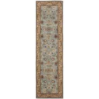 Handmade Heritage Mahal Blue/ Gold Wool Runner (2'3 x 8')