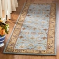 Handmade Heritage Mahal Blue/ Gold Wool Runner (2&#39;3 x 8&#39;)