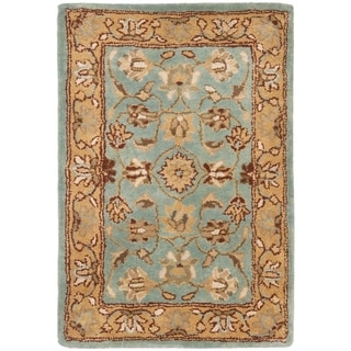Handmade Heritage Mahal Blue/ Gold Wool Rug (3&#39; x 5&#39;)