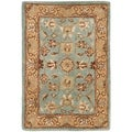 Handmade Heritage Mahal Blue/ Gold Wool Rug (3' x 5')