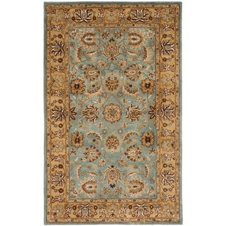 Handmade Heritage Mahal Blue/ Gold Wool Rug (4&#39; x 6&#39;)