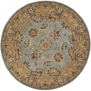 Safavieh Handmade Heritage Mahal Blue/ Gold Wool Rug (3'6 Round)
