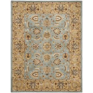 Handmade Heritage Mahal Blue/ Gold Wool Rug (5' x 8')