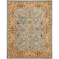 Handmade Heritage Mahal Blue/Gold Oriental Wool Rug (7'6 x 9'6)