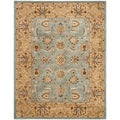 Handmade Heritage Mahal Blue/ Gold Wool Rug (7&#39;6 x 9&#39;6)