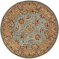 Safavieh Handmade Heritage Mahal Blue/ Gold Wool Rug (8' Round)