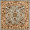 Safavieh Handmade Heritage Mahal Blue/ Gold Wool Rug (8' Square)