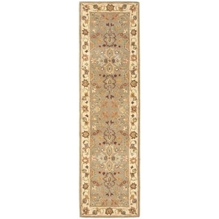 Handmade Oushak Light Green/Beige Wool Runner (2'3 x 14')
