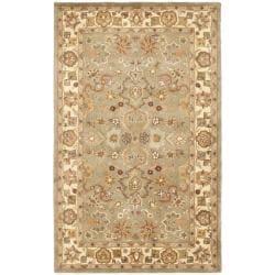Handmade Heritage Oushak Light Green/Beige Wool Rug (3' x 5')