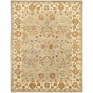 Handmade Heritage Oushak Light Green/Beige Wool Rug (6' x 9')