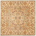 Handmade Heritage Oushak Light Green/Beige Wool Rug (6' Square)