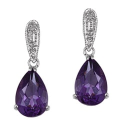 Kabella 14k White Gold Amethyst and 1/10ct TDW Diamond Earrings
