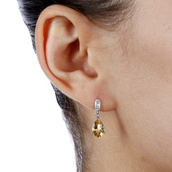 Kabella 14k White Gold Citrine and 1/10ct TDW Diamond Earrings