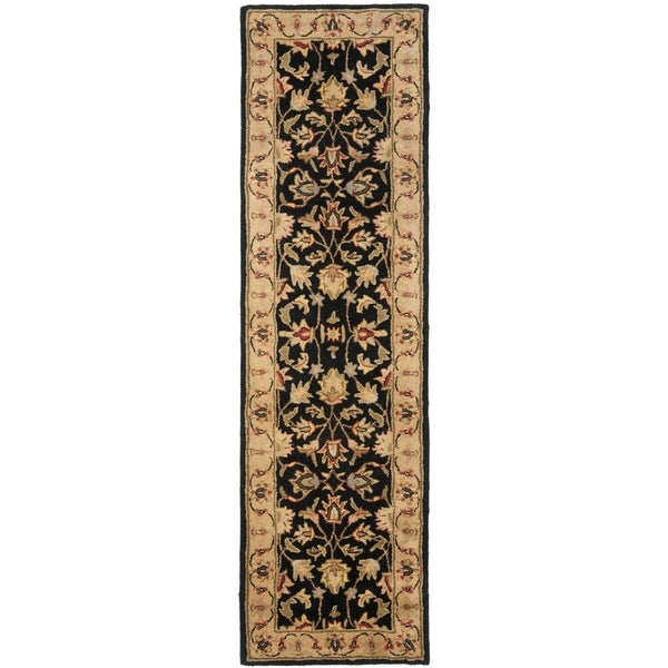 Safavieh Handmade Heritage Kerman Black/ Gold Wool Runner (2'3 x 12')