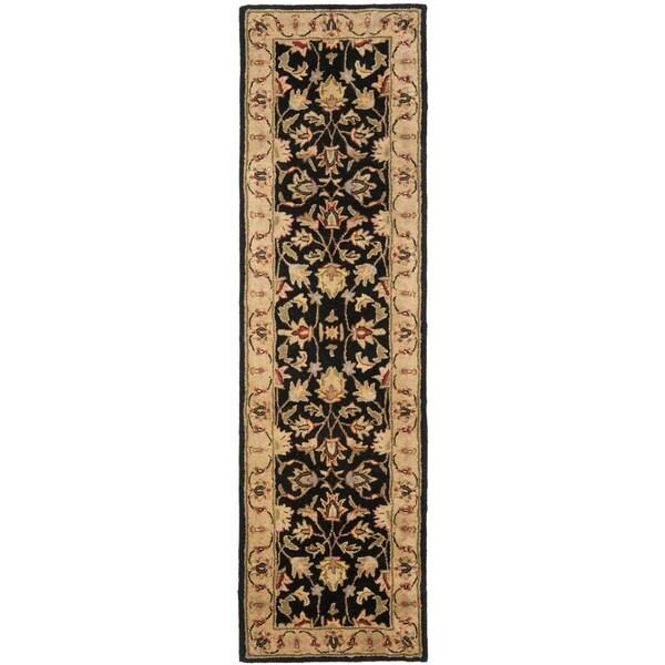 Safavieh Handmade Heritage Kerman Black/ Gold Wool Runner (2'3 x 8')