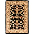 Handmade Heritage Kerman Black/ Gold Wool Rug (3' x 5')