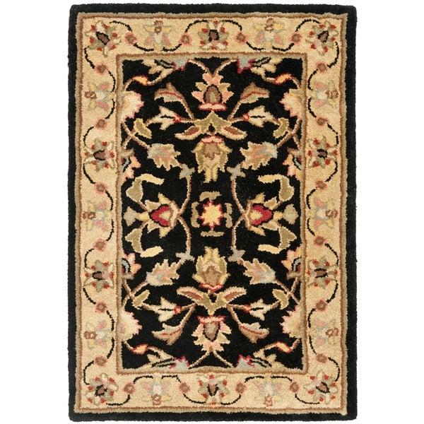 Safavieh Handmade Heritage Kerman Black/ Gold Wool Rug (3' x 5')