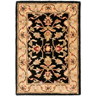 Handmade Heritage Kerman Black/ Gold Wool Rug (3&#39; x 5&#39;)