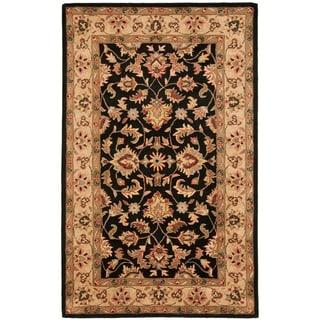 Handmade Heritage Kerman Black/ Gold Wool Rug (4' x 6')