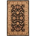 Handmade Heritage Kerman Black/ Gold Wool Rug (4' x 6')