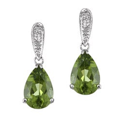 Kabella 14k White Gold Peridot and 1/10ct TDW Diamond Earrings