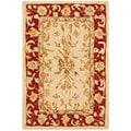 Safavieh Handmade Mashad Ivory/ Red Wool Rug (2' x 3')