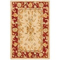 Handmade Mashad Ivory/ Red Wool Rug (2&#39; x 3&#39;)