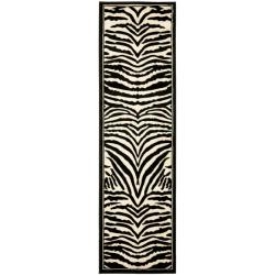 Lyndhurst Collection Zebra Black/ White Runner (2'3 x 12')