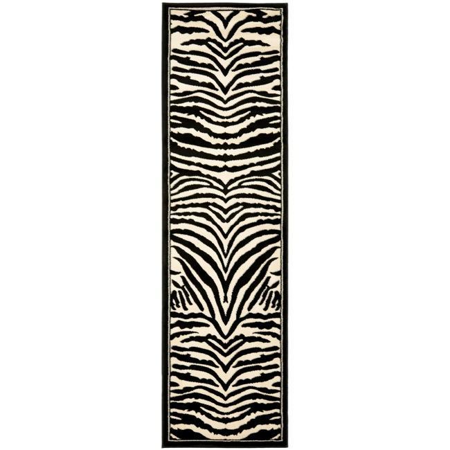 Safavieh Lyndhurst Collection Zebra Black/ White Runner (2'3 x 6')