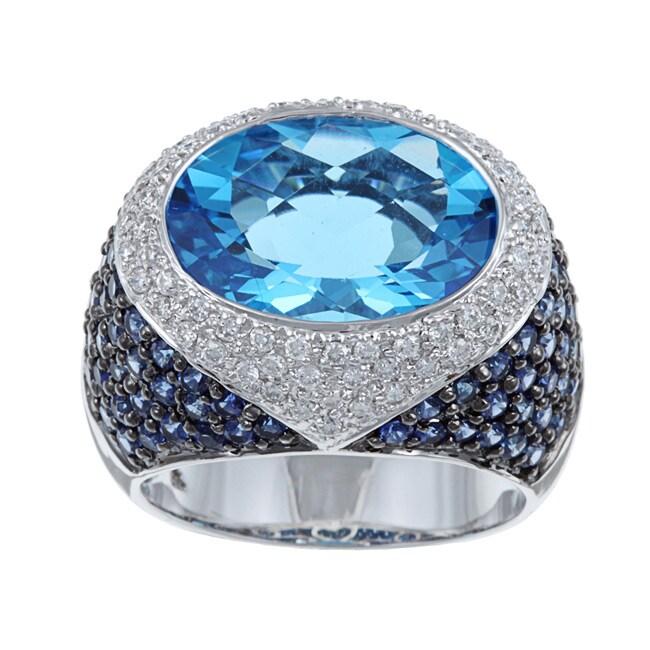 Kabella 18k White Gold Blue Topaz/ Sapphire and 5/8ct TDW Diamond Ring